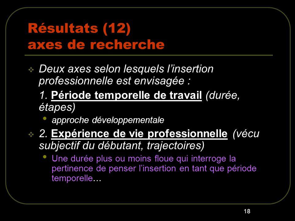 Résultats (12) axes de recherche