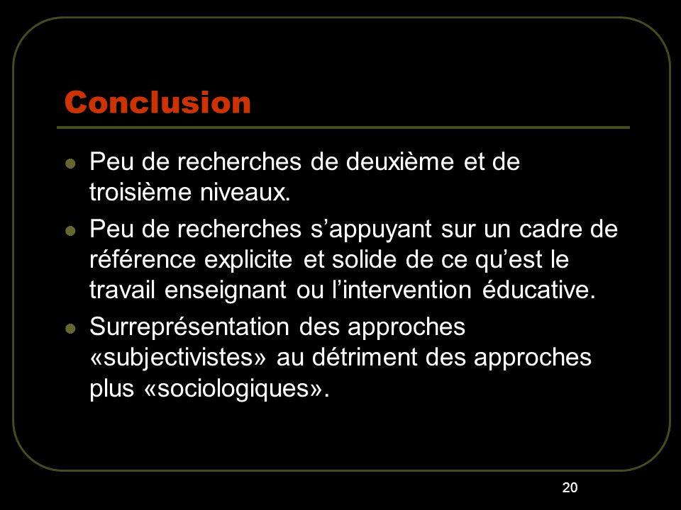 Conclusion Peu de recherches de deuxième et de troisième niveaux.