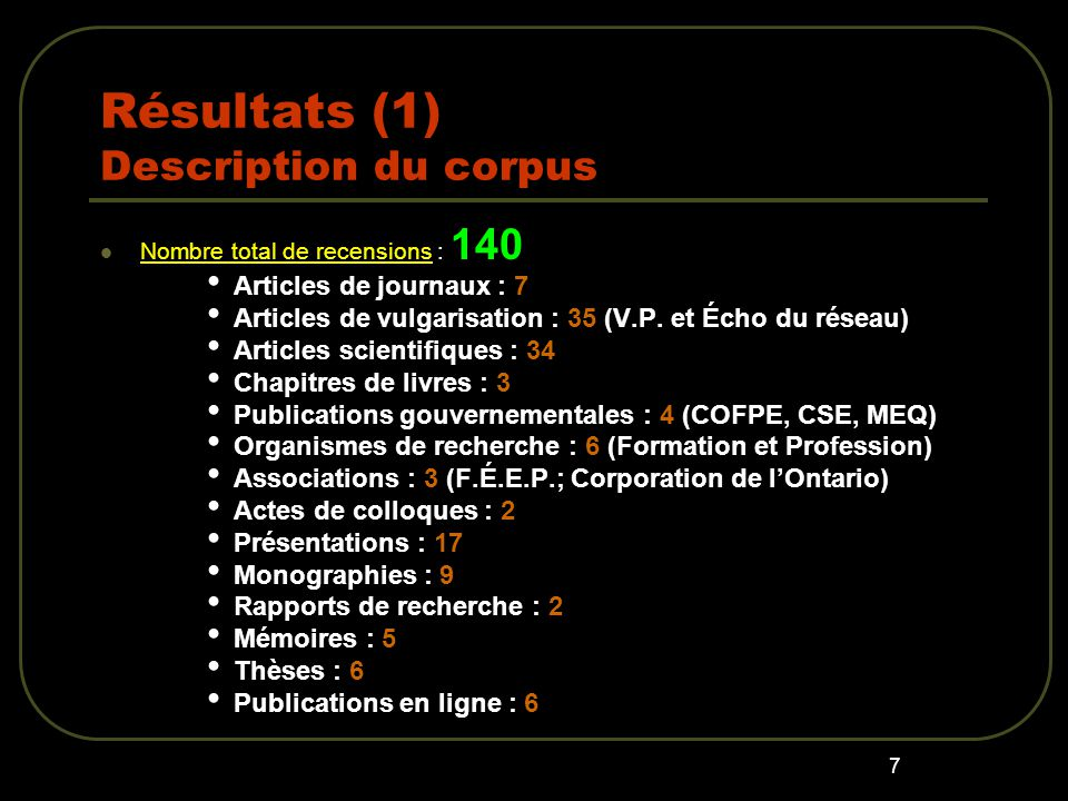Résultats (1) Description du corpus