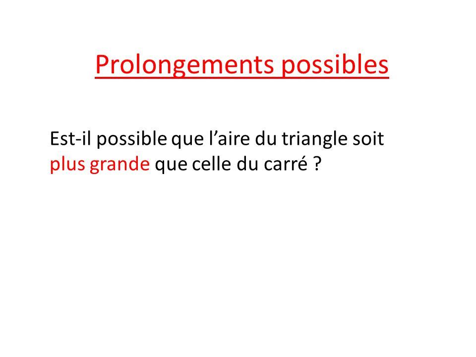Prolongements possibles