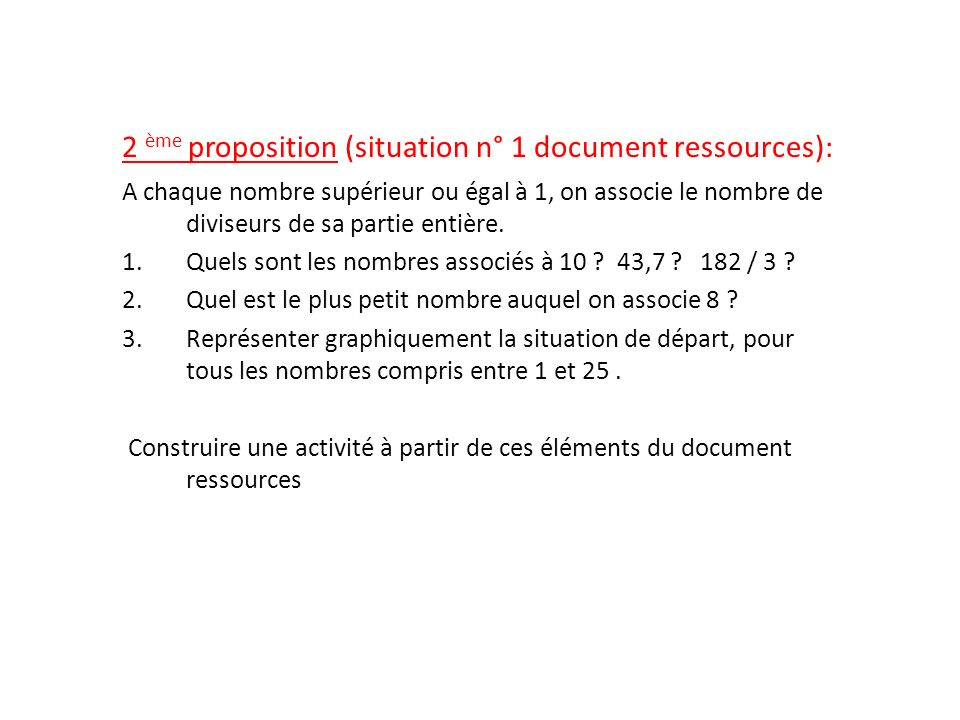 2 ème proposition (situation n° 1 document ressources):