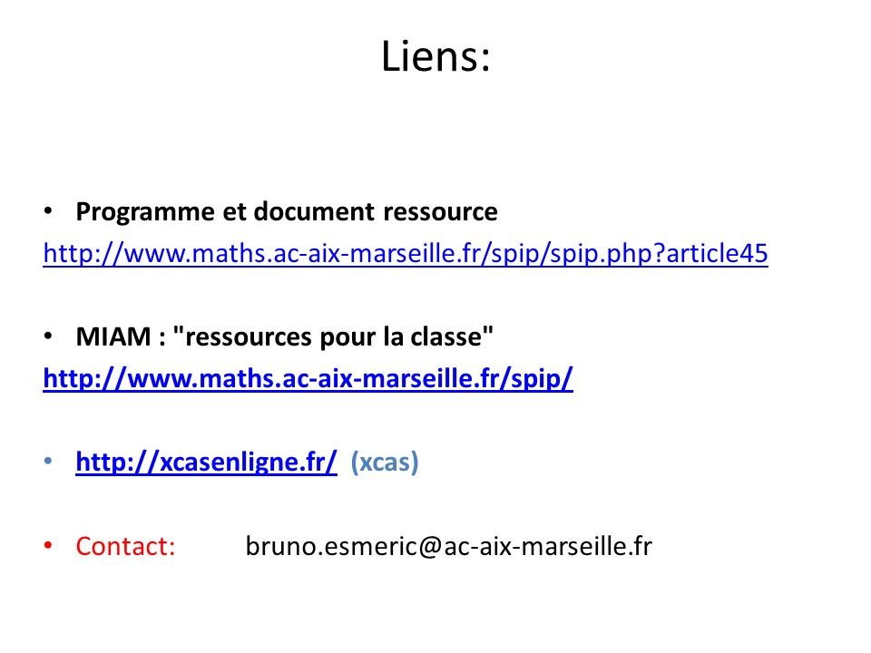 Liens: Programme et document ressource