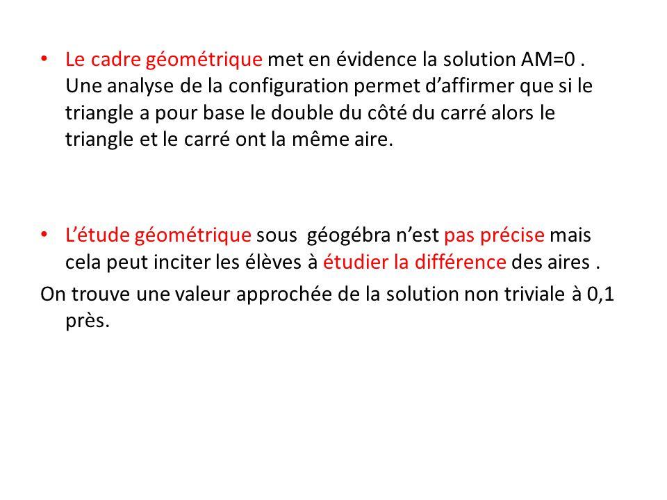 Le cadre géométrique met en évidence la solution AM=0