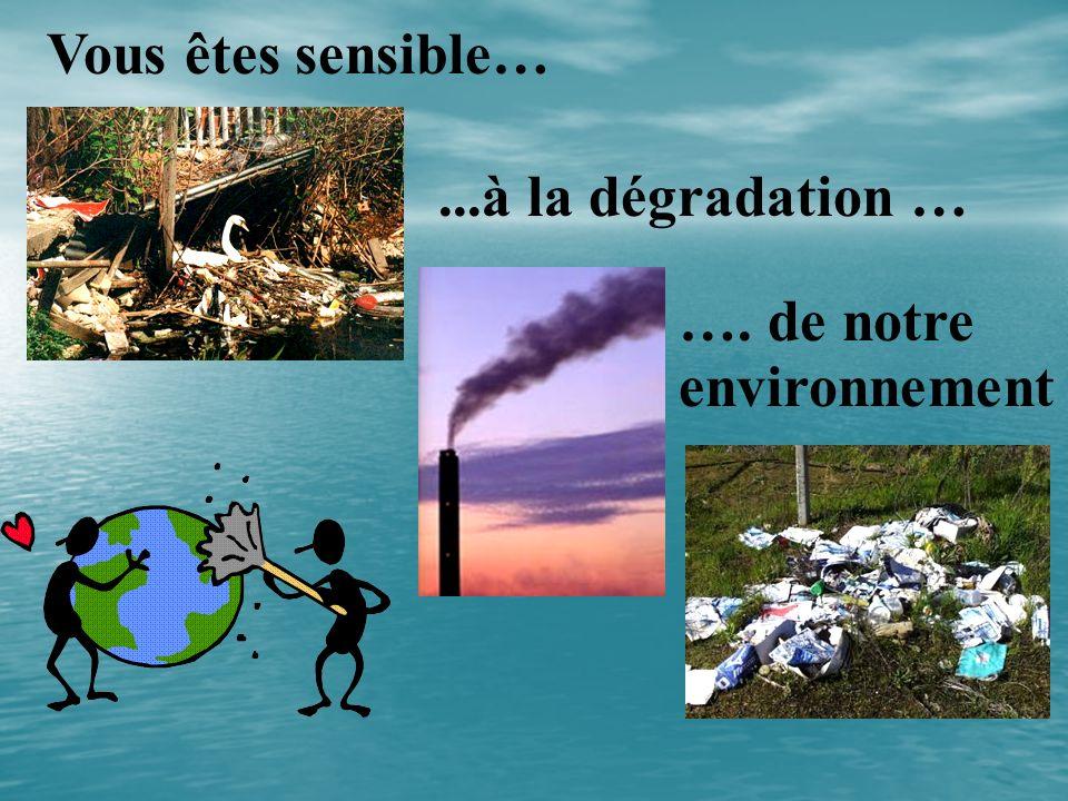 Vous êtes sensible… ...à la dégradation … …. de notre environnement