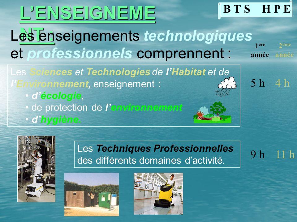 L'ENSEIGNEMENT :B T S H P E. Les enseignements technologiques et professionnels comprennent : 1ère.