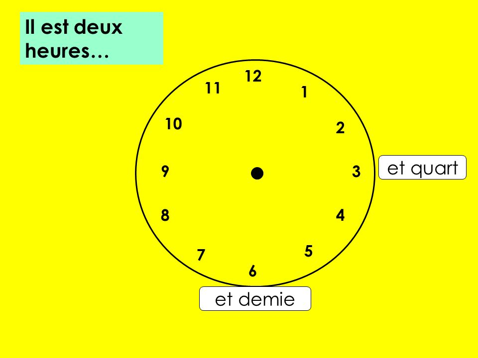 Il est deux heures… 12 11 1 10 2 et quart 9 3 8 4 5 7 6 et demie