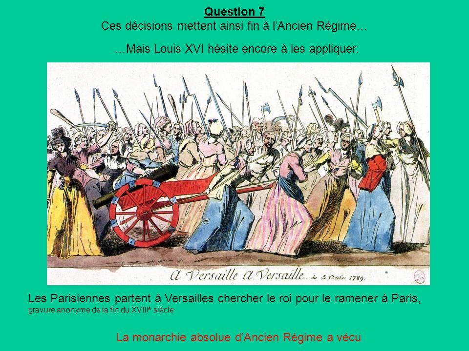 Question 7 Ces décisions mettent ainsi fin à l'Ancien Régime…