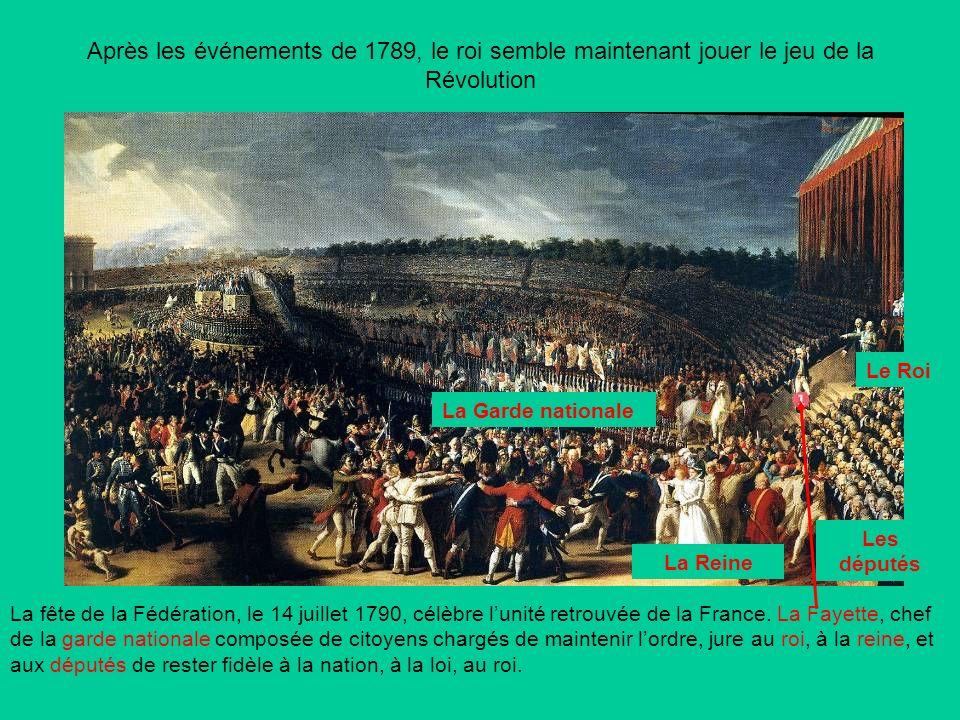 Après les événements de 1789, le roi semble maintenant jouer le jeu de la Révolution