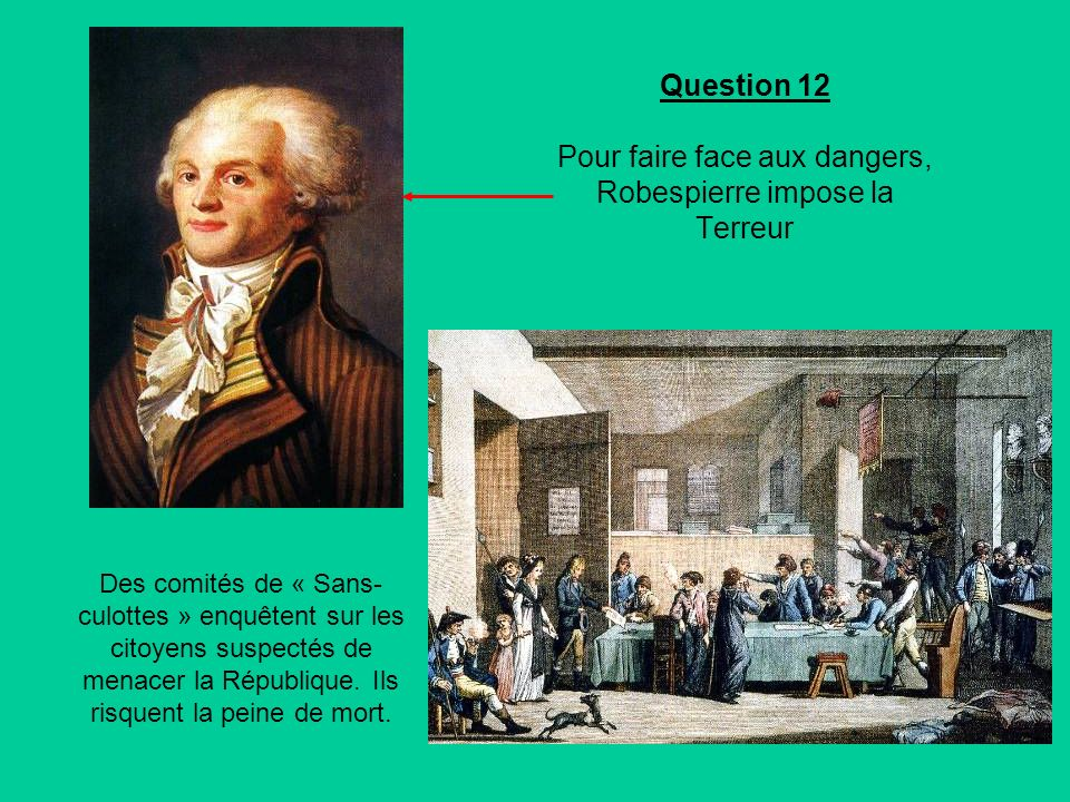Question 12 Pour faire face aux dangers, Robespierre impose la Terreur