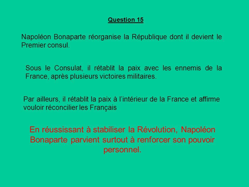 Question 15 Napoléon Bonaparte réorganise la République dont il devient le Premier consul.