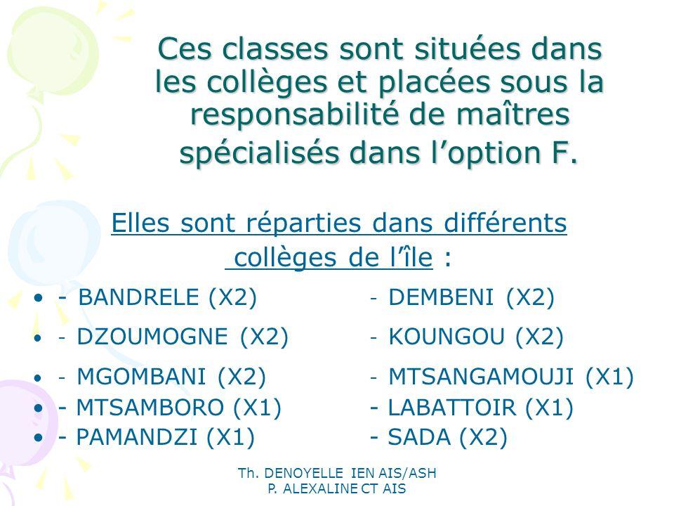 Ces classes sont situées dans les collèges et placées sous la responsabilité de maîtres spécialisés dans l'option F.