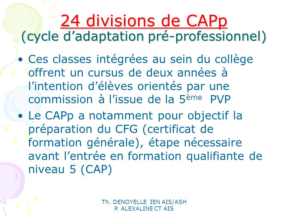 24 divisions de CAPp (cycle d'adaptation pré-professionnel)