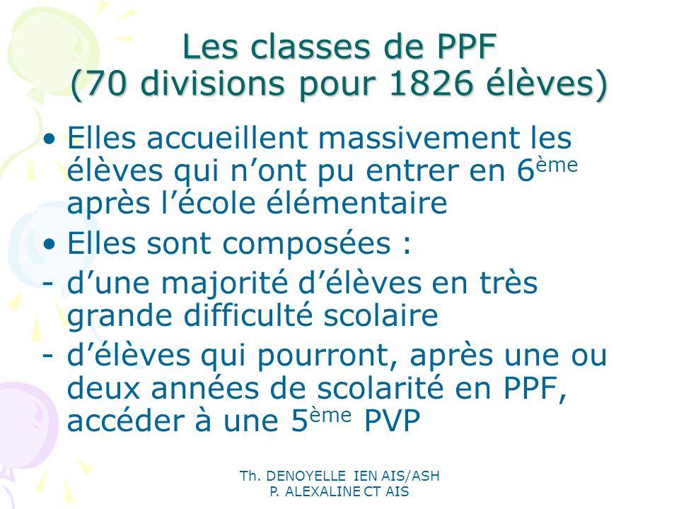 Les classes de PPF (70 divisions pour 1826 élèves)