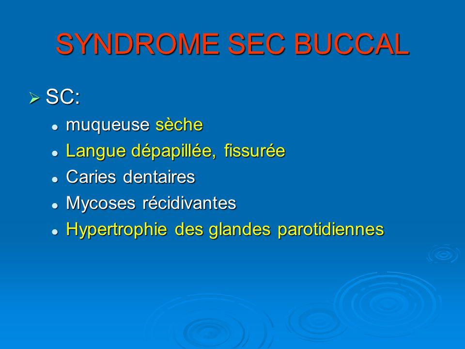 SYNDROME SEC BUCCAL SC: muqueuse sèche Langue dépapillée, fissurée