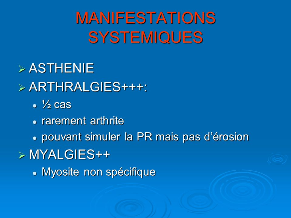 MANIFESTATIONS SYSTEMIQUES
