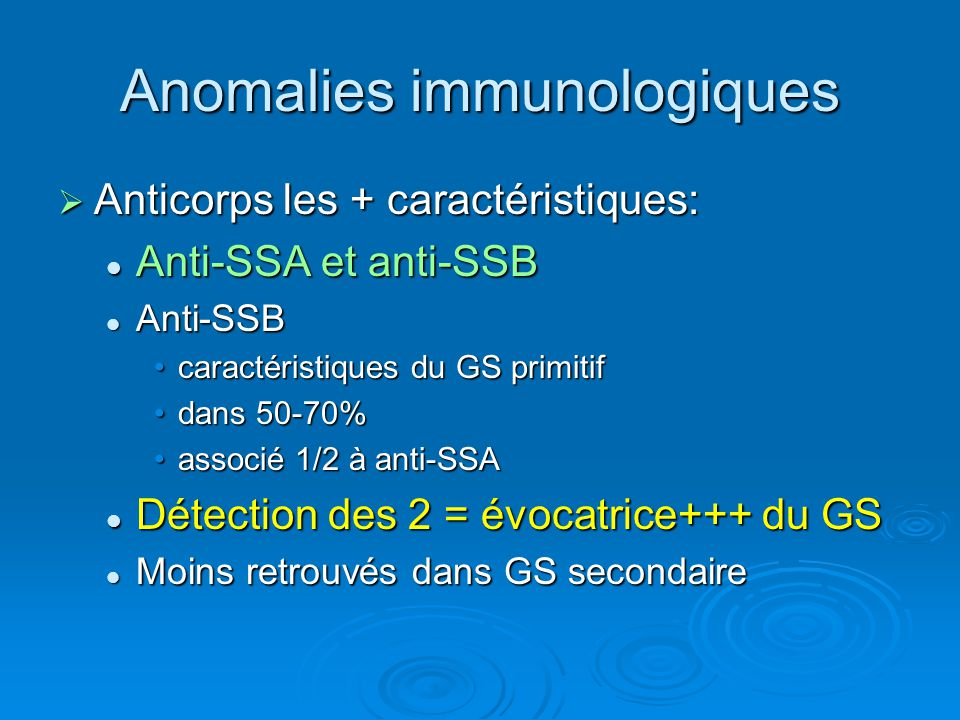 Anomalies immunologiques