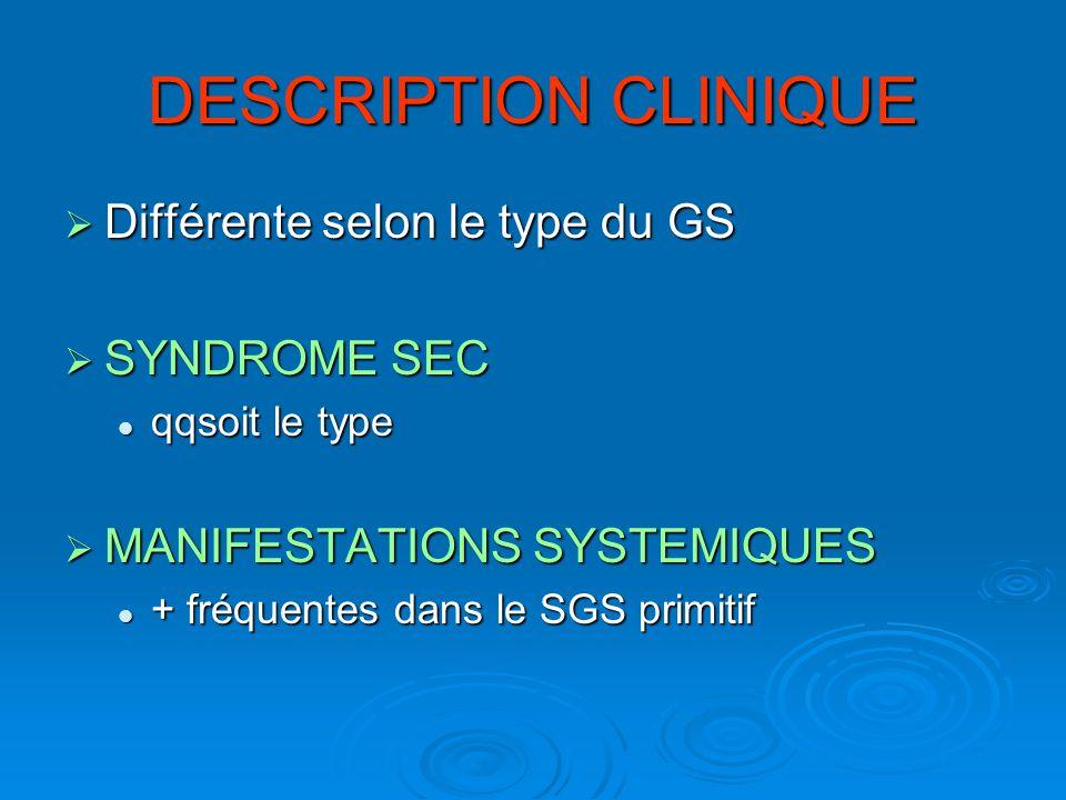 DESCRIPTION CLINIQUE Différente selon le type du GS SYNDROME SEC