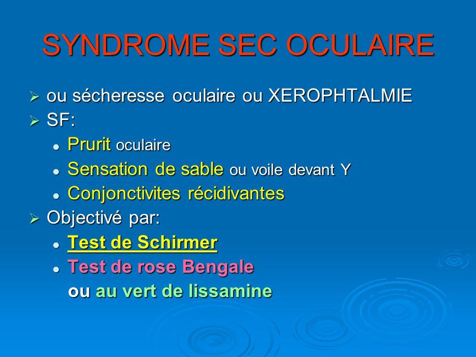 SYNDROME SEC OCULAIRE ou sécheresse oculaire ou XEROPHTALMIE SF: