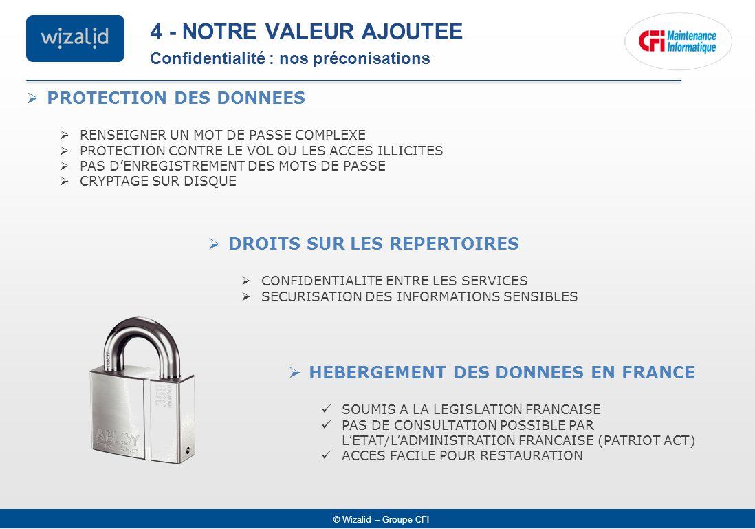 4 - NOTRE VALEUR AJOUTEE Confidentialité : nos préconisations