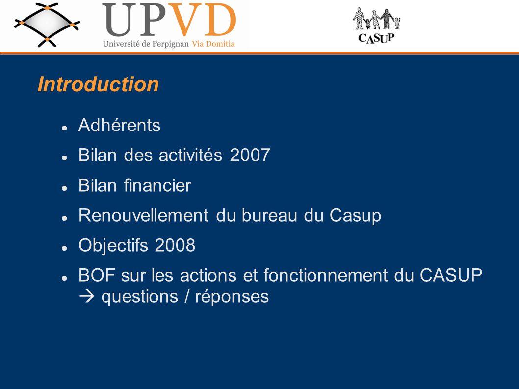 Introduction Adhérents Bilan des activités 2007 Bilan financier