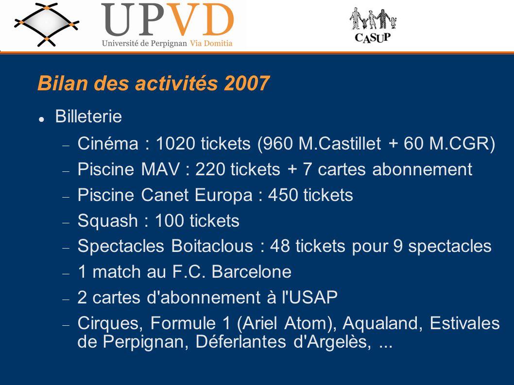 Bilan des activités 2007 Billeterie