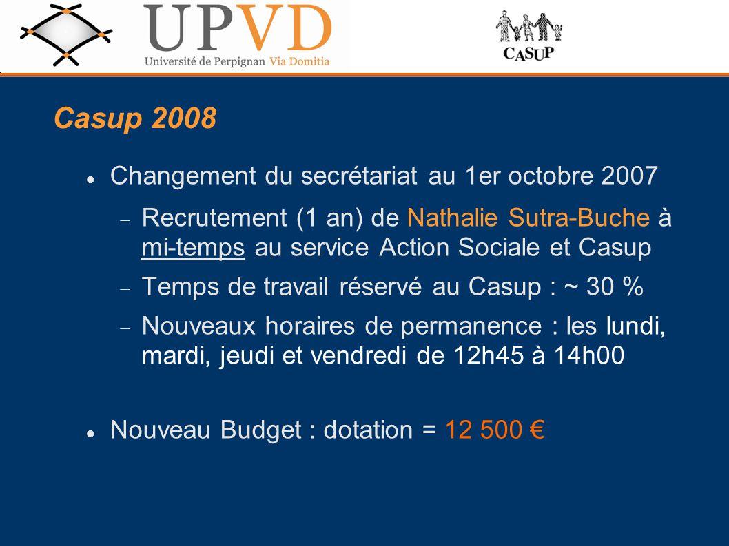 Casup 2008 Changement du secrétariat au 1er octobre 2007