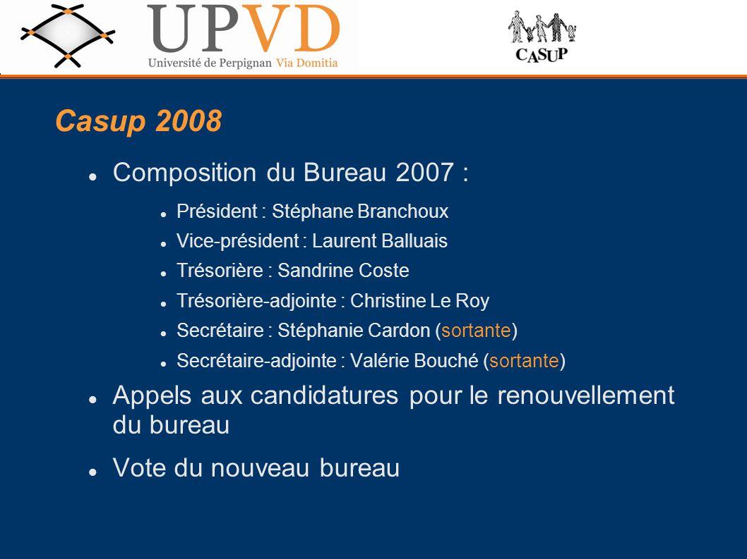 Casup 2008 Composition du Bureau 2007 :