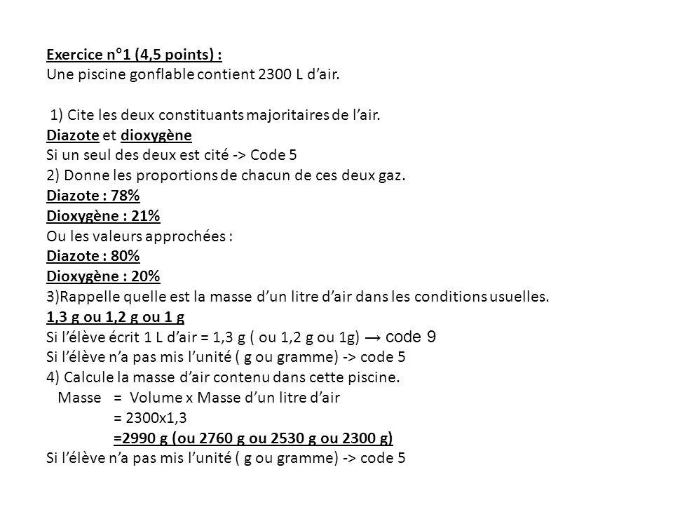 Exercice n°1 (4,5 points) : Une piscine gonflable contient 2300 L d'air. 1) Cite les deux constituants majoritaires de l'air.