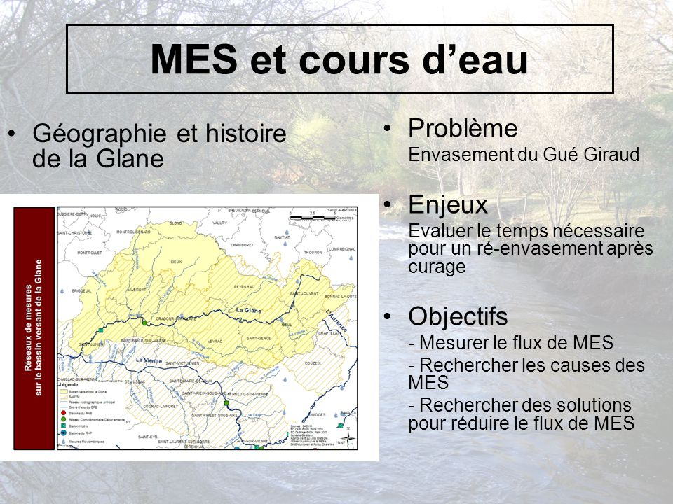 MES et cours d'eau Problème Géographie et histoire de la Glane Enjeux
