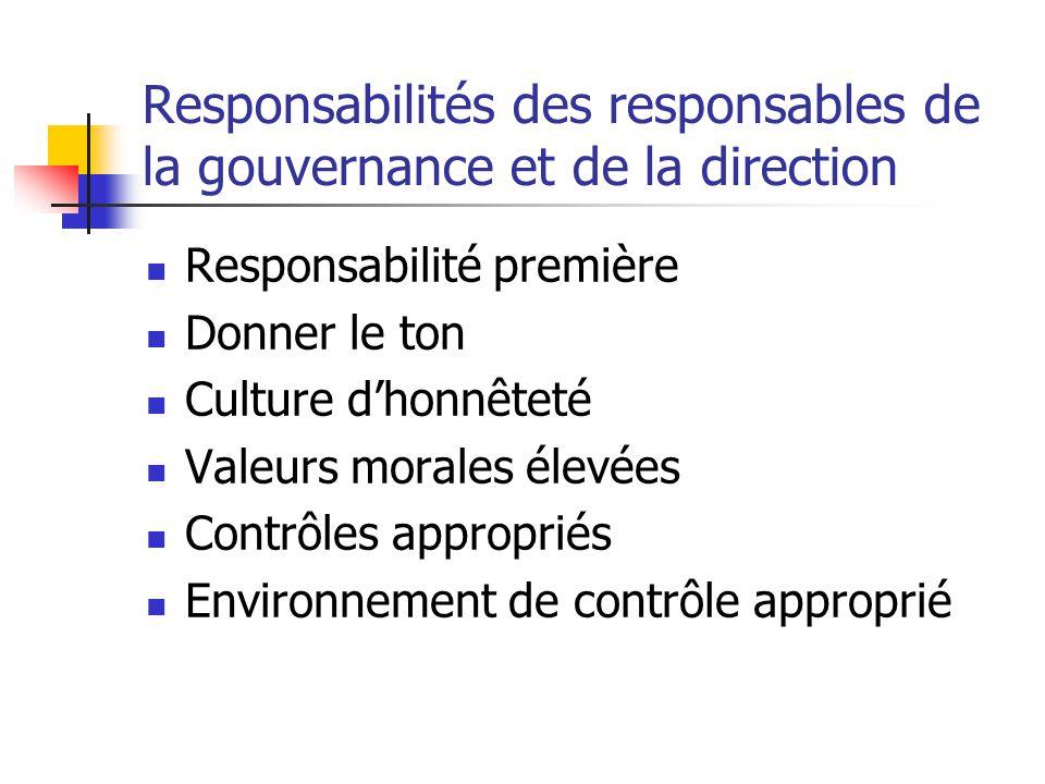 Responsabilités des responsables de la gouvernance et de la direction