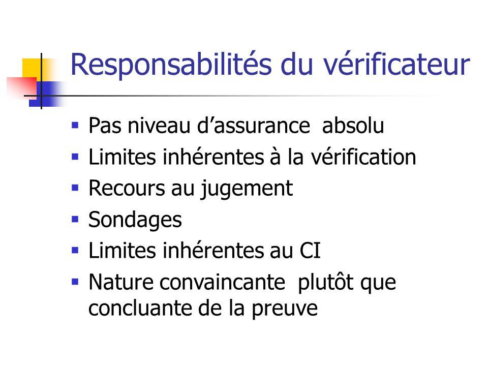 Responsabilités du vérificateur