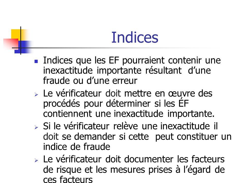 Indices Indices que les EF pourraient contenir une inexactitude importante résultant d'une fraude ou d'une erreur.