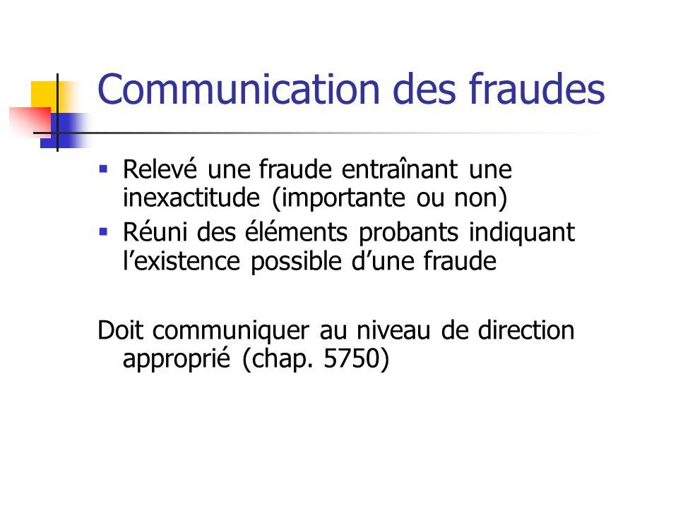 Communication des fraudes