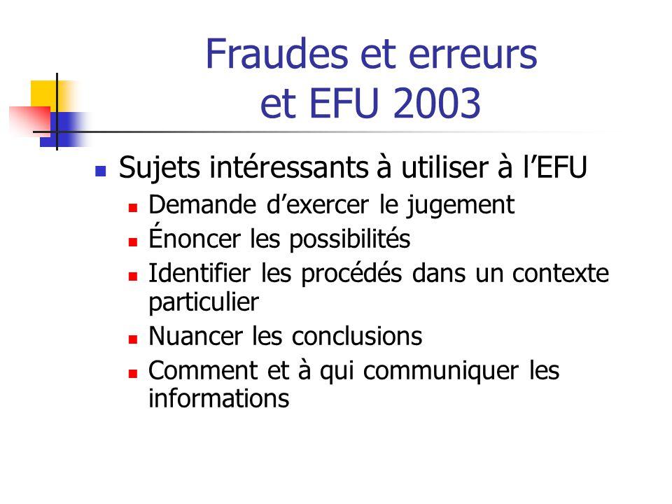 Fraudes et erreurs et EFU 2003