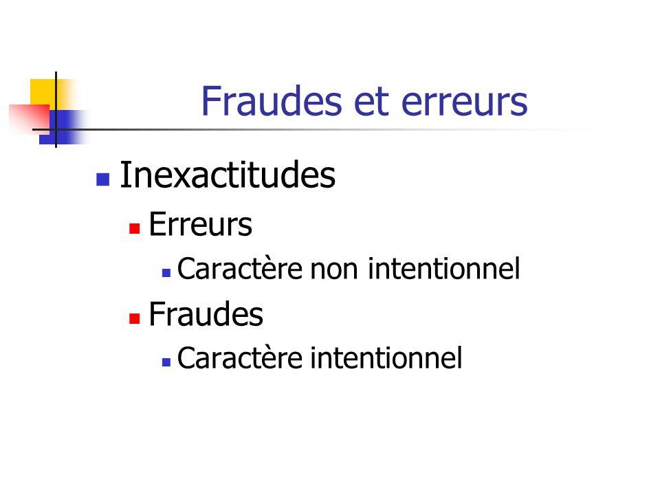 Fraudes et erreurs Inexactitudes Erreurs Fraudes