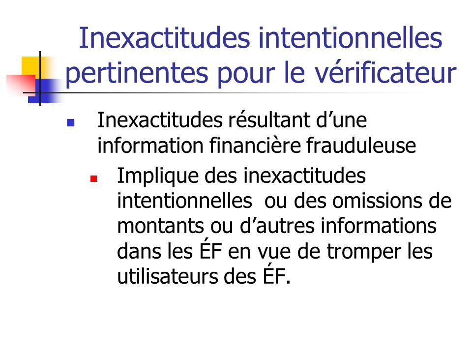 Inexactitudes intentionnelles pertinentes pour le vérificateur