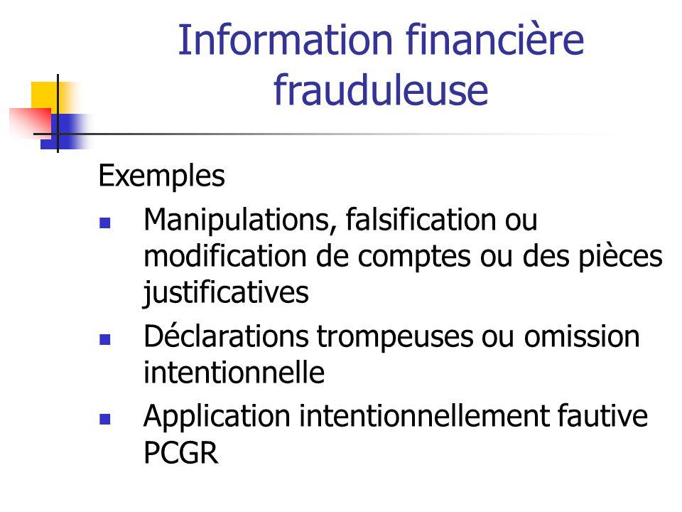 Information financière frauduleuse
