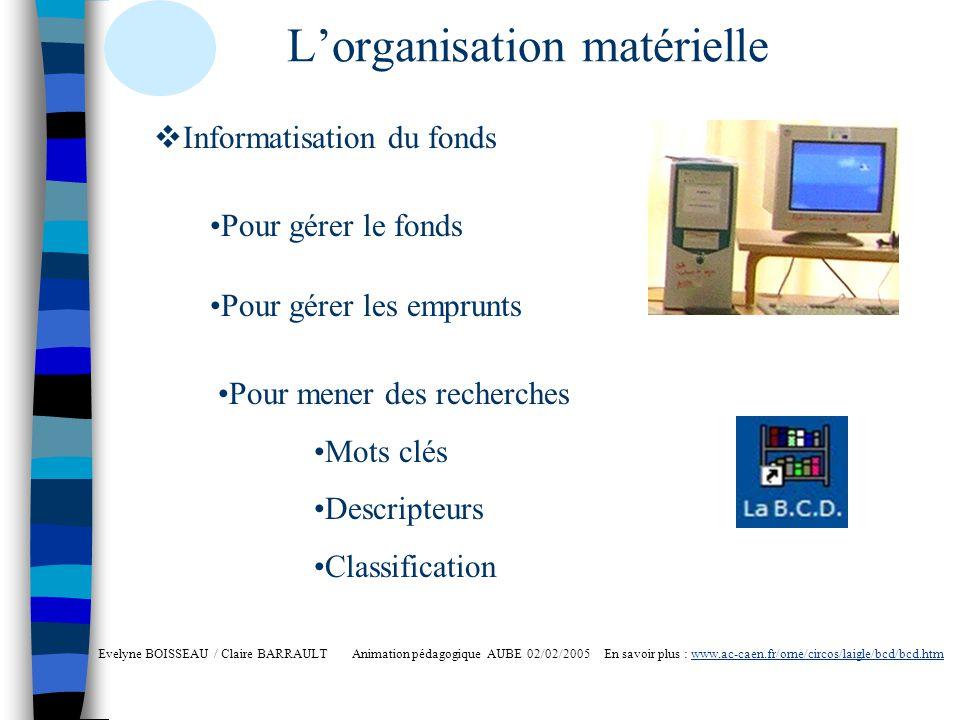 L'organisation matérielle