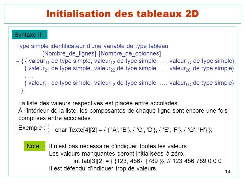 Initialisation des tableaux 2D