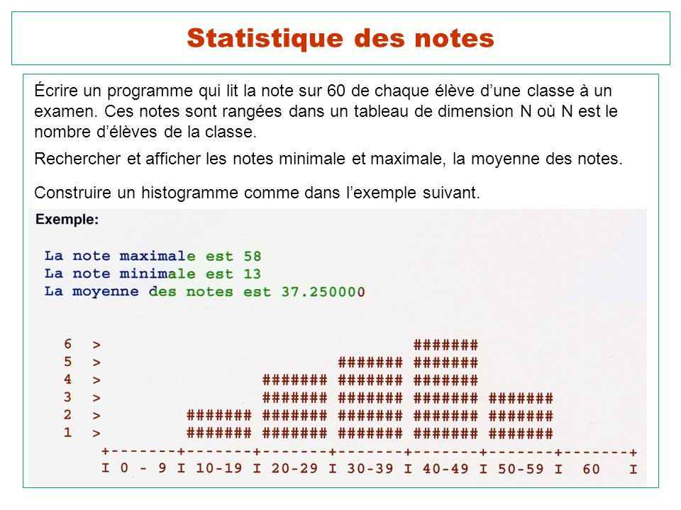 Statistique des notes Écrire un programme qui lit la note sur 60 de chaque élève d'une classe à un.