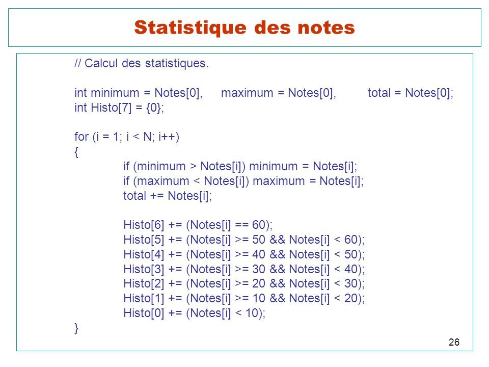 Statistique des notes // Calcul des statistiques.