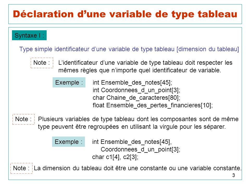 Déclaration d'une variable de type tableau