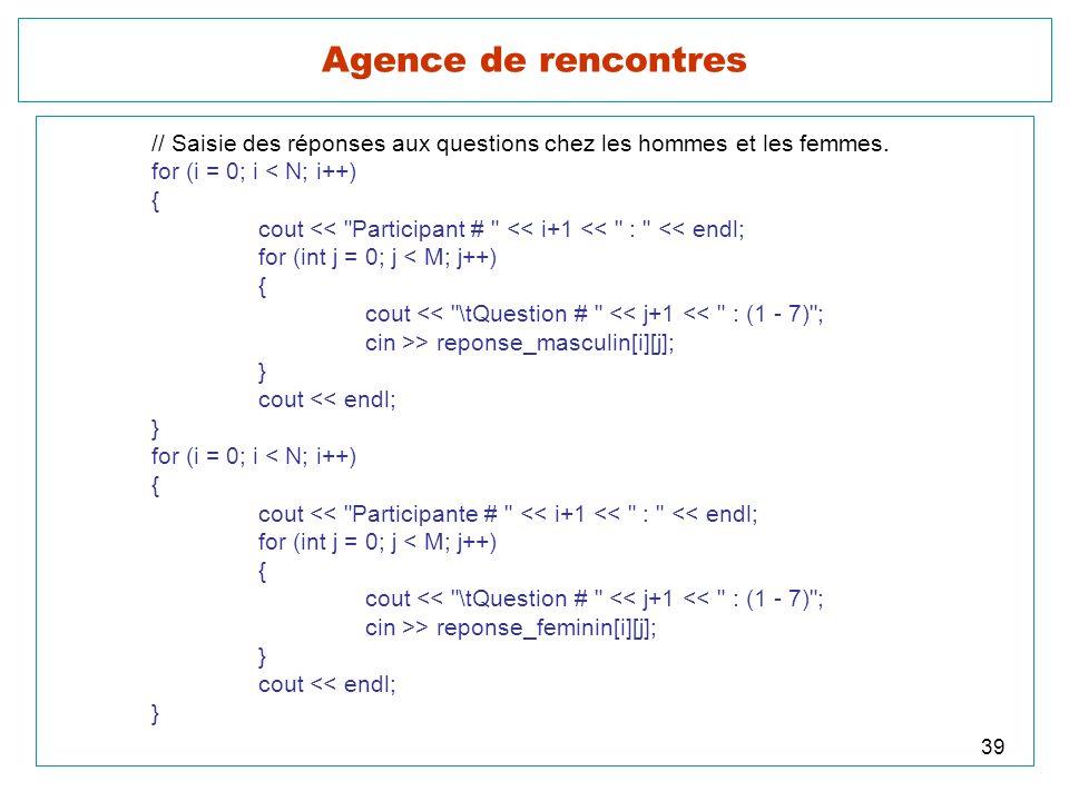 Agence de rencontres // Saisie des réponses aux questions chez les hommes et les femmes. for (i = 0; i < N; i++)