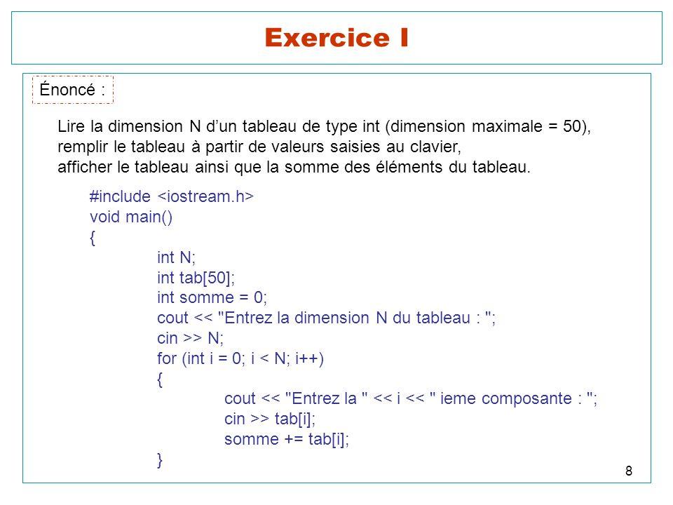 Exercice I Énoncé : Lire la dimension N d'un tableau de type int (dimension maximale = 50),