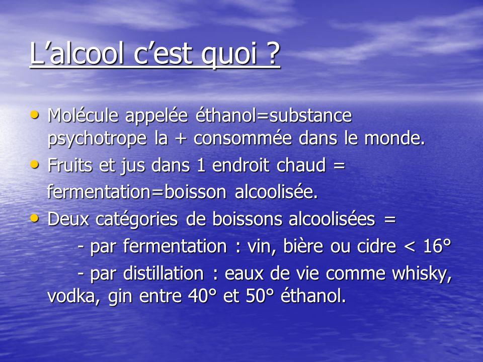 L'alcool c'est quoi Molécule appelée éthanol=substance psychotrope la + consommée dans le monde. Fruits et jus dans 1 endroit chaud =