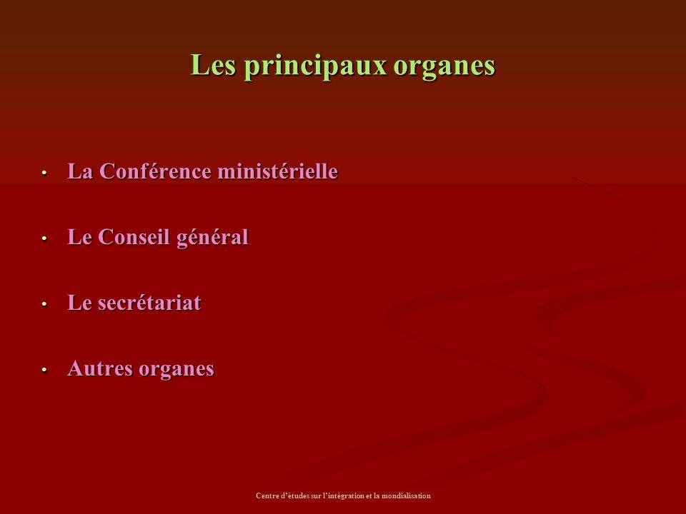 Les principaux organes