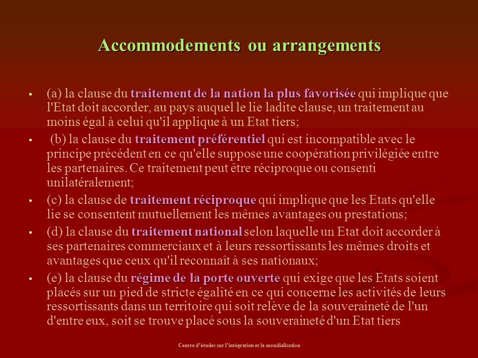 Accommodements ou arrangements