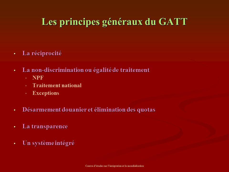 Les principes généraux du GATT