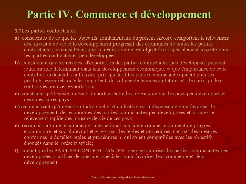 Partie IV. Commerce et développement