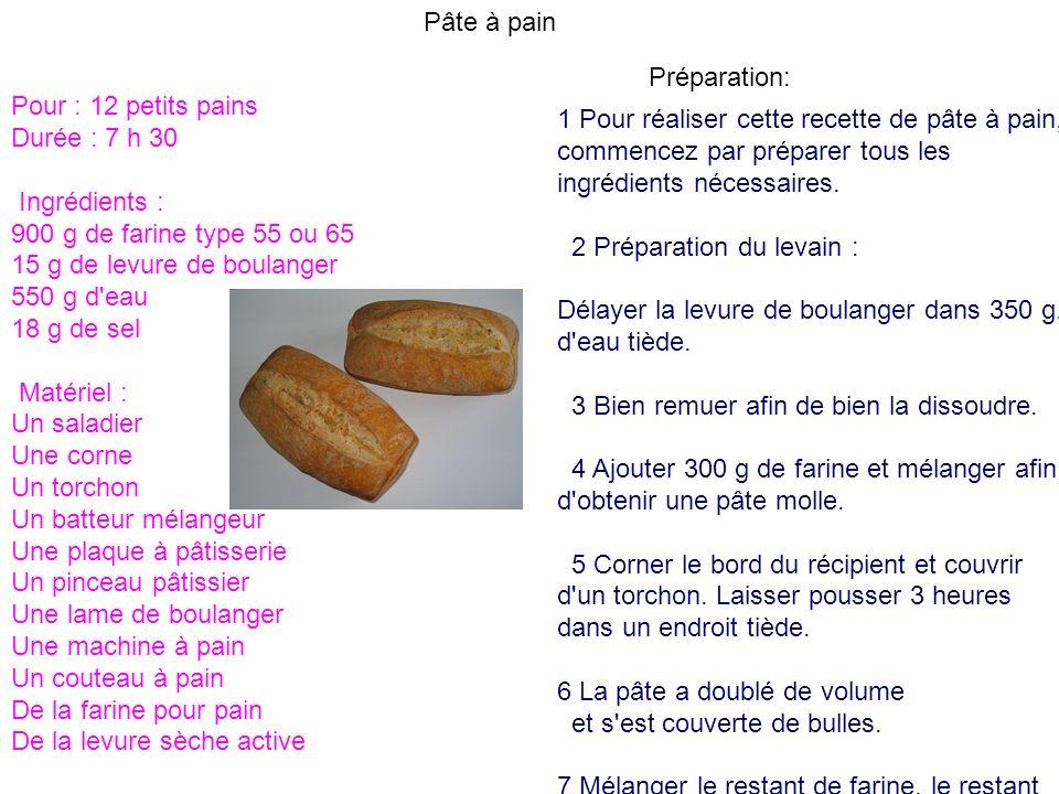 Pâte à painPréparation: Pour : 12 petits pains. Durée : 7 h 30. Ingrédients : 900 g de farine type 55 ou 65.